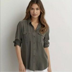 ARMY GREEN AMERICAN EAGLE BUTTON UP